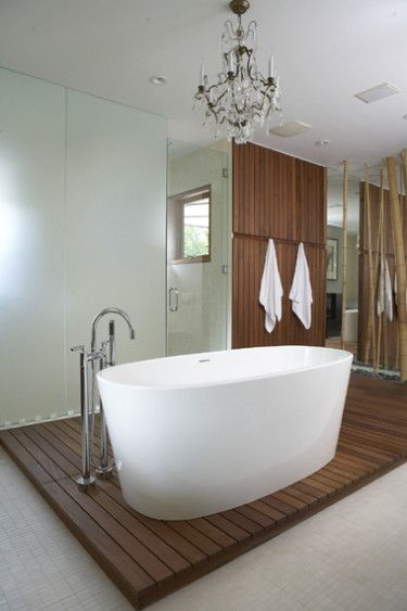 Freestanding Bath With Timber Base Architecture Bathroom