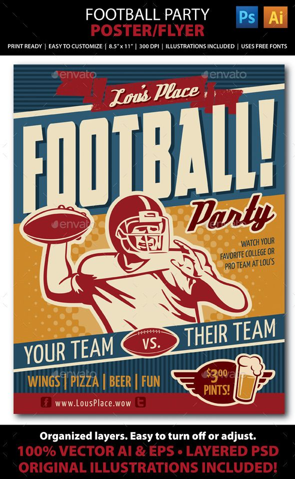 Retro Football Party Or Event PosterFlyer  Retro Football Flyer