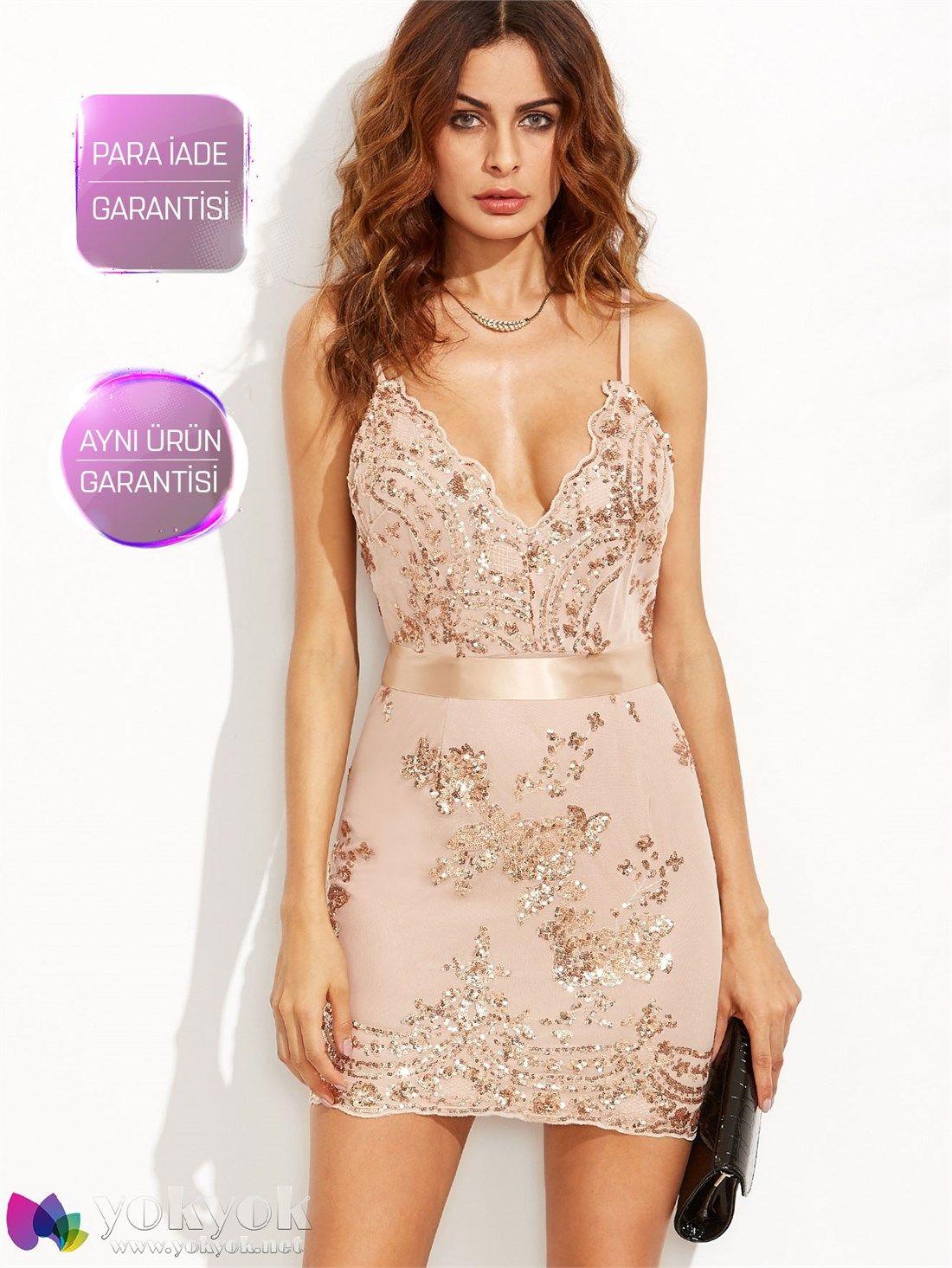 Altın Taşlı Mini Abiye Elbise | Mezunlar gecesi elbiseleri | Pinterest