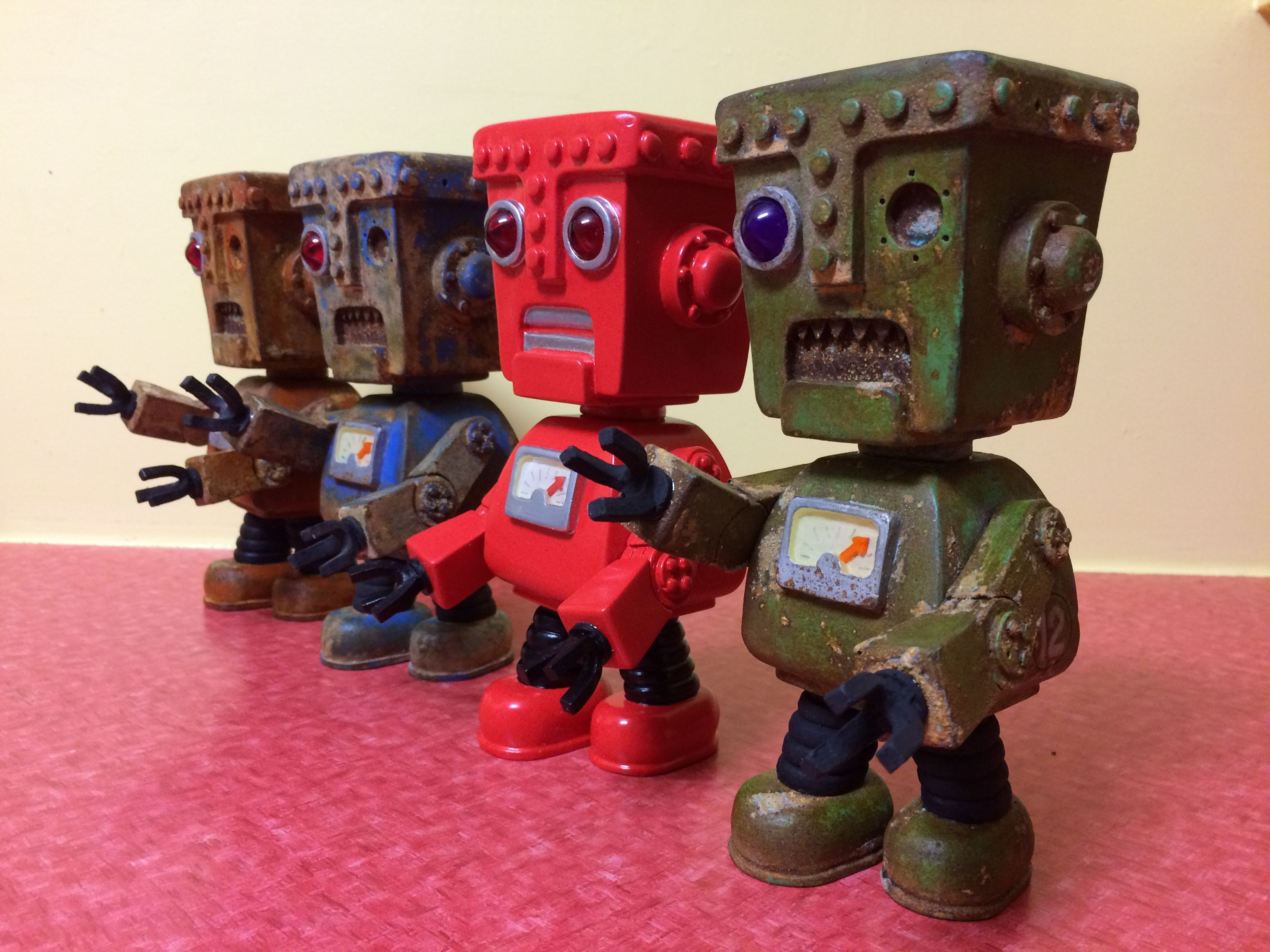 Robot zombies. Resin toy by Rob Walker.
