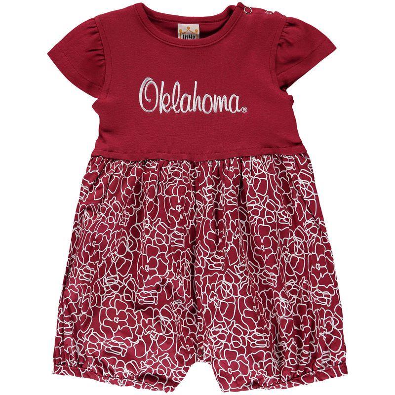 Oklahoma Sooners Girls Newborn & Infant Floral Bubble Romper - Crimson