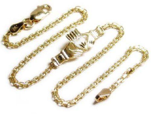 Solid 14k Gold 10 inch long Claddaugh Ankle Bracelet - JewelryWeb JewelryWeb http://www.amazon.com/dp/B00022G8FC/ref=cm_sw_r_pi_dp_s7kpub1QAXNFT