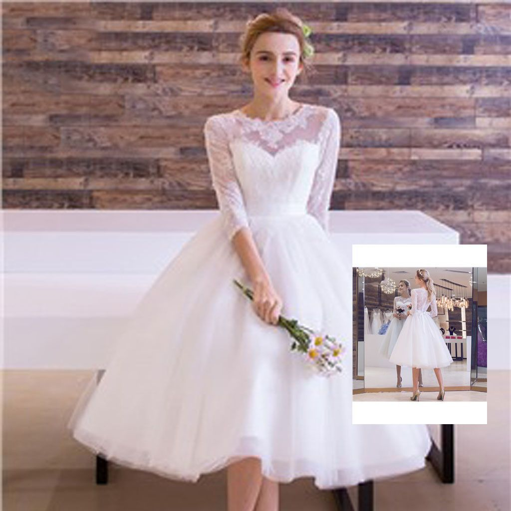 Cute short wedding dresses  Cute Short White Lace Round Neck Half Sleeve See Through Tulle