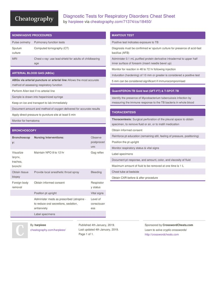 Diagnostic Tests For Respiratory Disorders Cheat Sheet By Harpieee