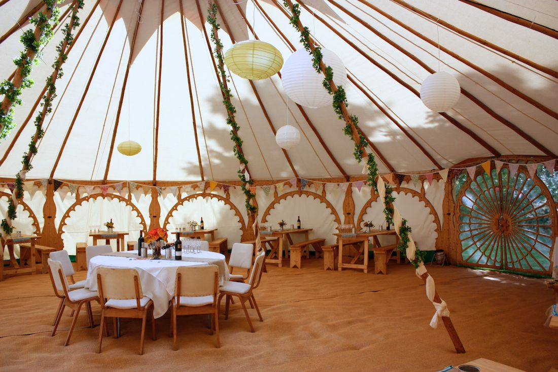 Yurt tipi bell tent hire from fm tents wedding party for Wedding reception decoration hire