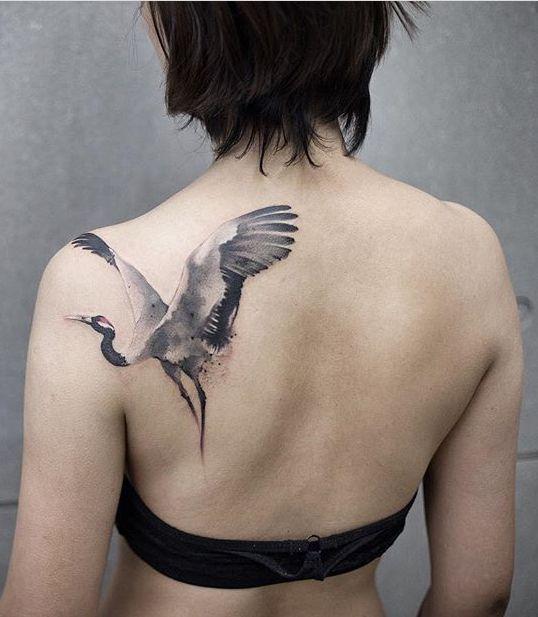 Chen Jie Newtattoo Crane Bird Tattoo Tattoo Styles Crane Tattoo Body Art Tattoos