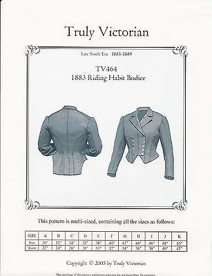 Details zu Schnittmuster Truly Victorian TV 464: 1883 Riding Habit ...