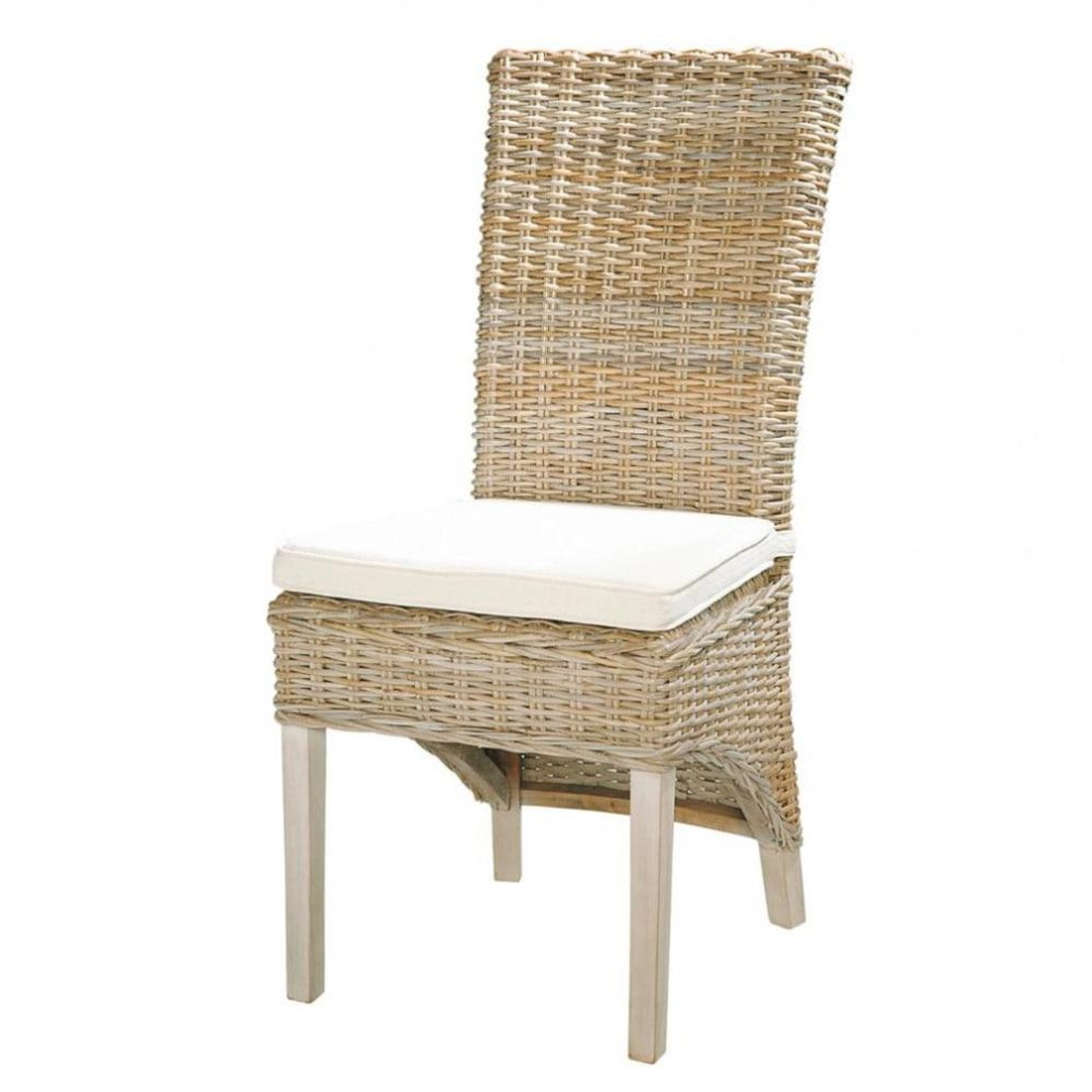 Kubu rattan and solid mahogany chair in grey finish | Maisons du ...