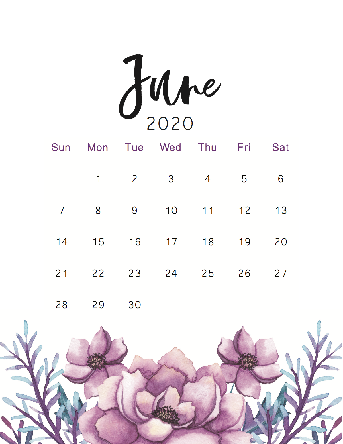 35 Best Printable June 2020 Calendars You Can Get For Free In 2020