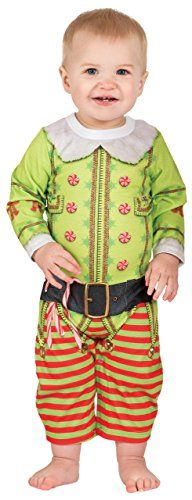 f0cdfbc33 Infant Long Sleeve Christmas Elf Romper with Legs Infant Onesie Size 6 Mos  ** You can find out more details at the link of the image.