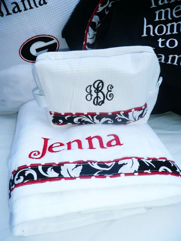 Towel laundry bag, makeup bag combination, black and white