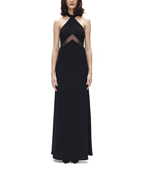 Take a look at the Jill Jill Stuart Black Sheer Chevron Inset Halter Gown on #zulily today!