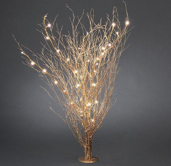 gold colored twigs with led lightschristmas lights good for winter wedding