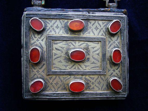 Antique Turkoman Heykal Silver Carnelian Gilding by UberKuchi, $550.00