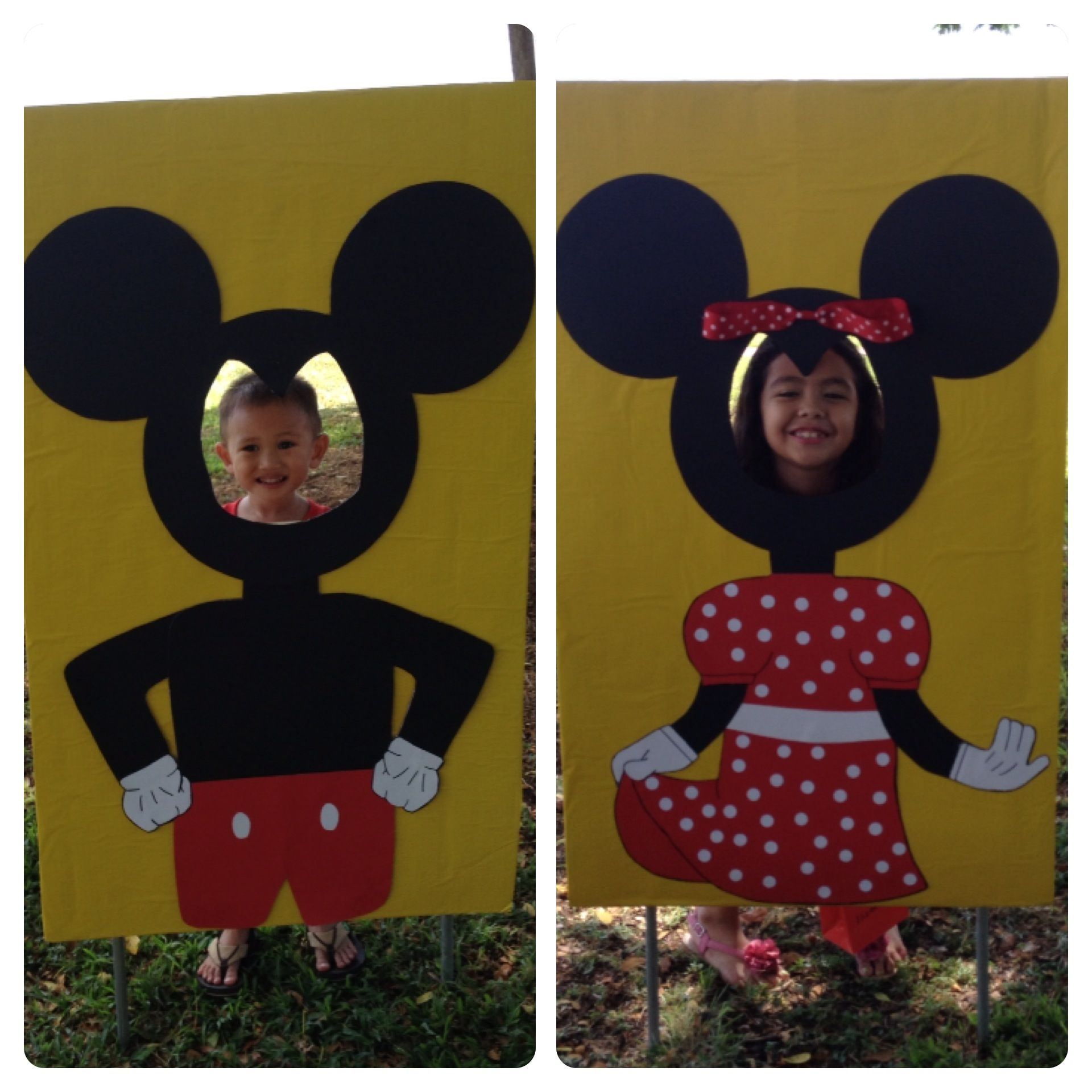 DIY minnie-mickey cutout for Minnie Mouse themed kids party