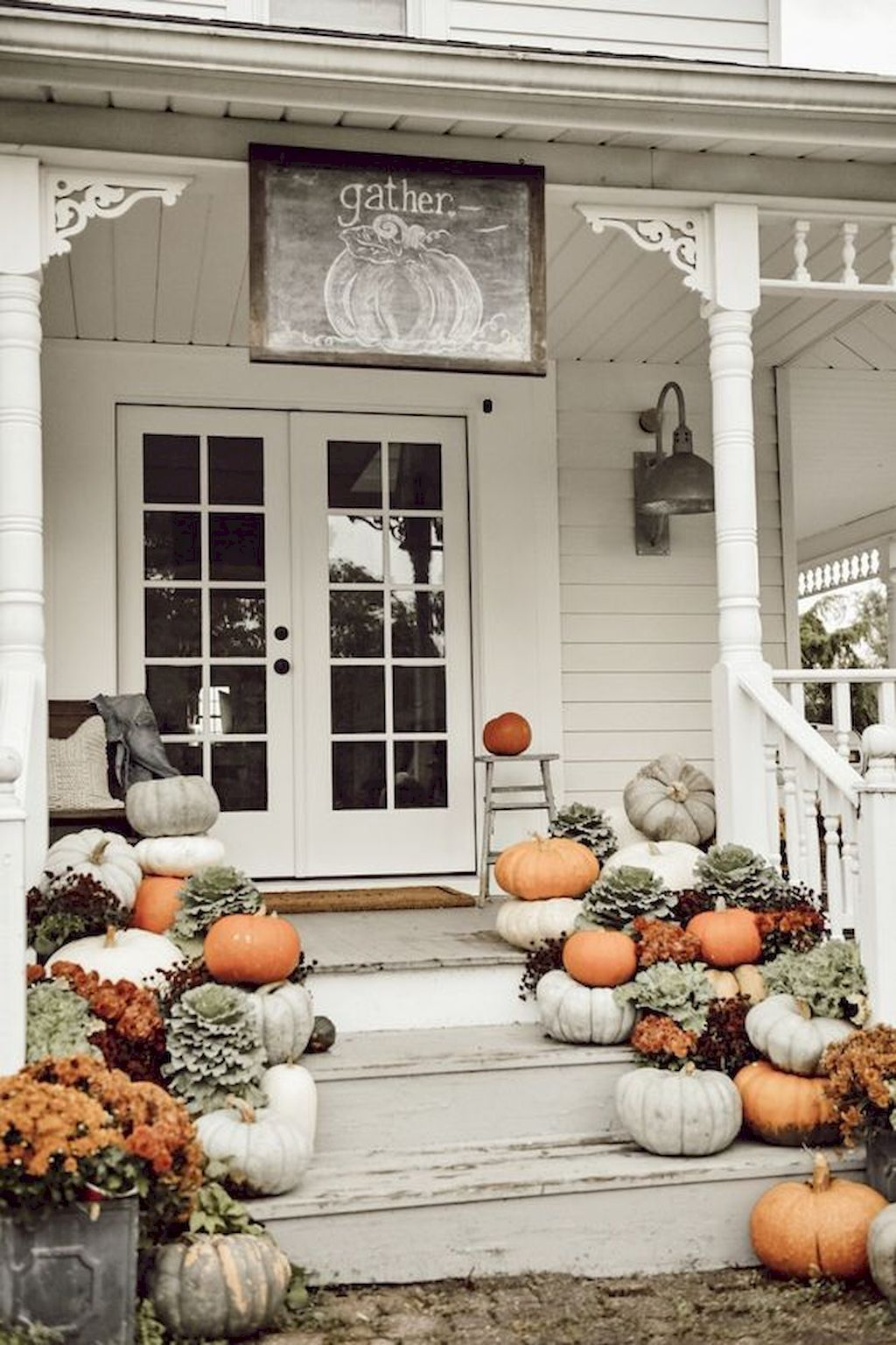 60 neutral fall porch ideas with pumpkins and cornstalks