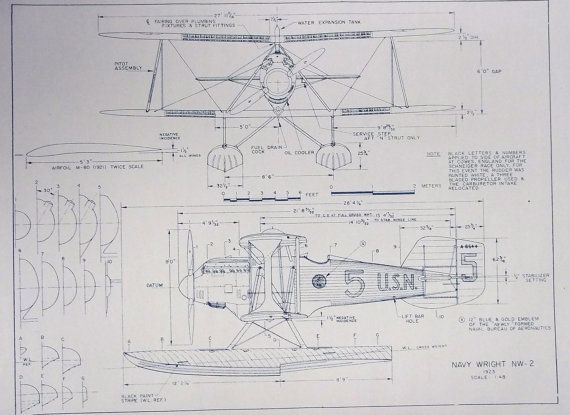 Wonderful 11 x 17 blueprint of the navy wright nw 2 airplane made wonderful 11 x 17 blueprint of the navy wright nw 2 airplane made the old fashioned way with ammonia activated paper on a diazit blueprint machine malvernweather Images