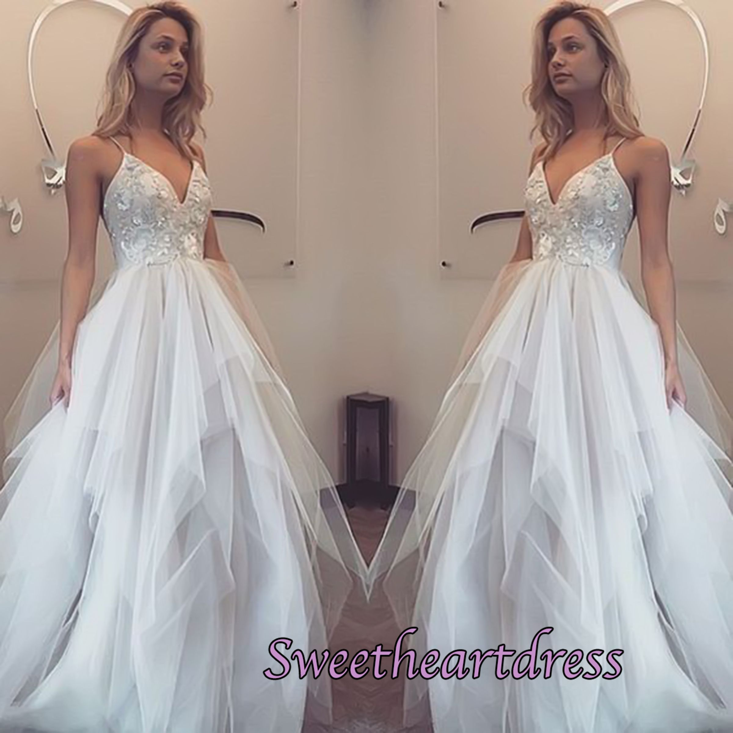 Beautiful white organza sexy vneck straps wedding dress prom dress