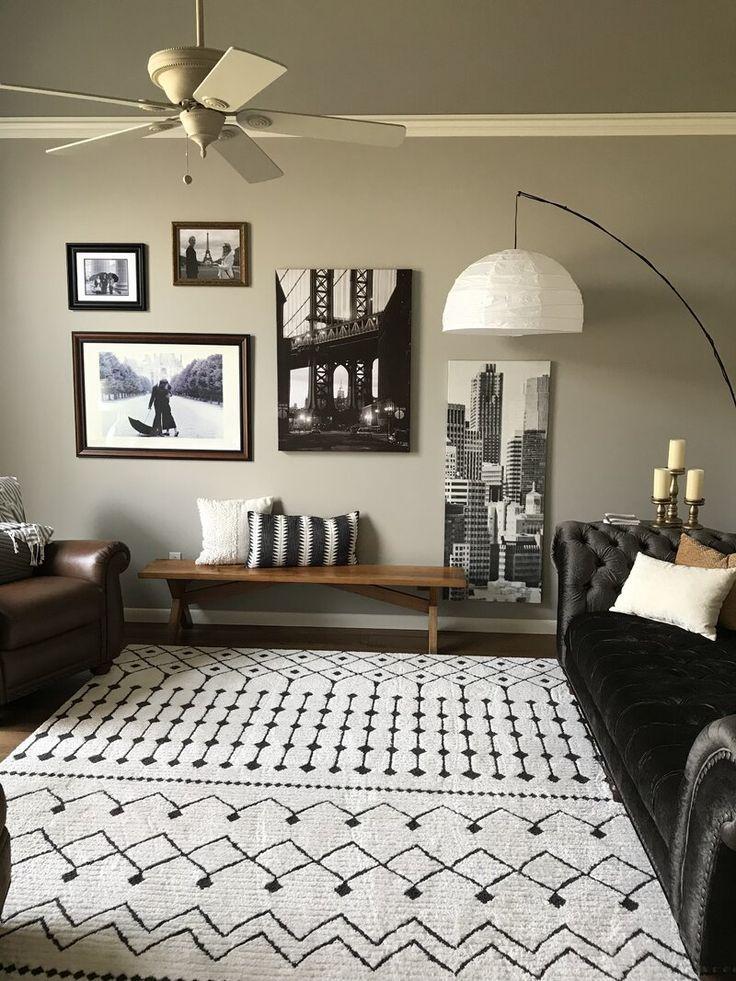 Rhodes Geometric Black/Charcoal Area Rug in 2020   Living ...
