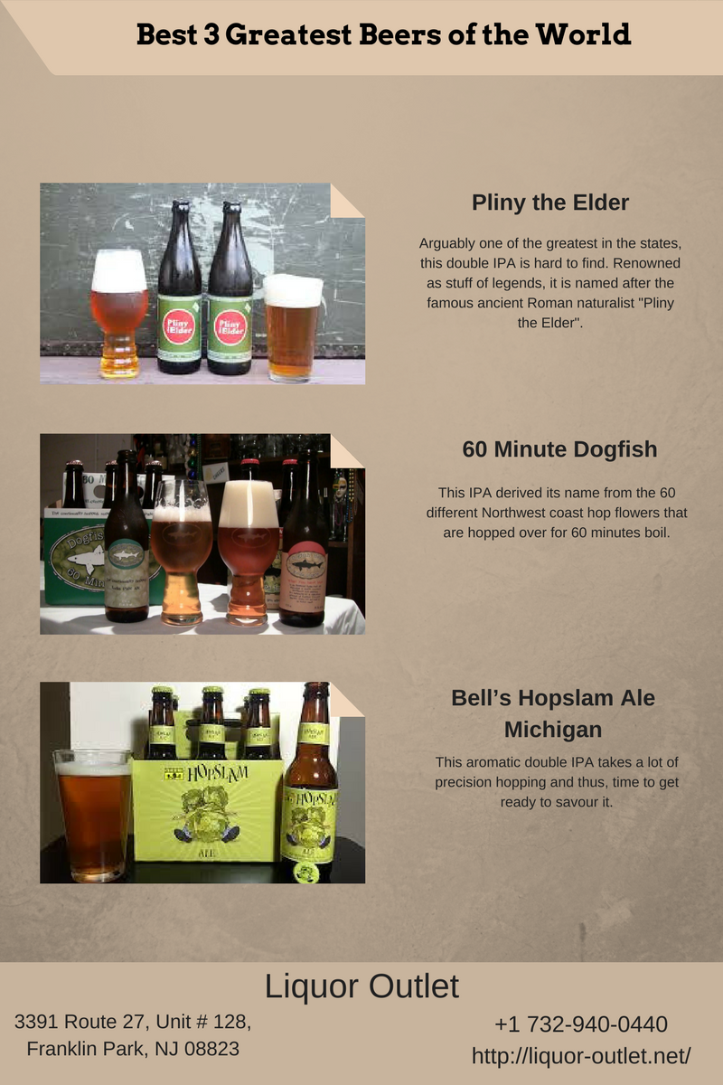 3 Greatest Beers Of The World Plinytheelder 60minutedogfish Bell S Hopslam Ale Michigan Bestbeerstoresinfranklinp Liquor Outlet Beer Store Liquor Store