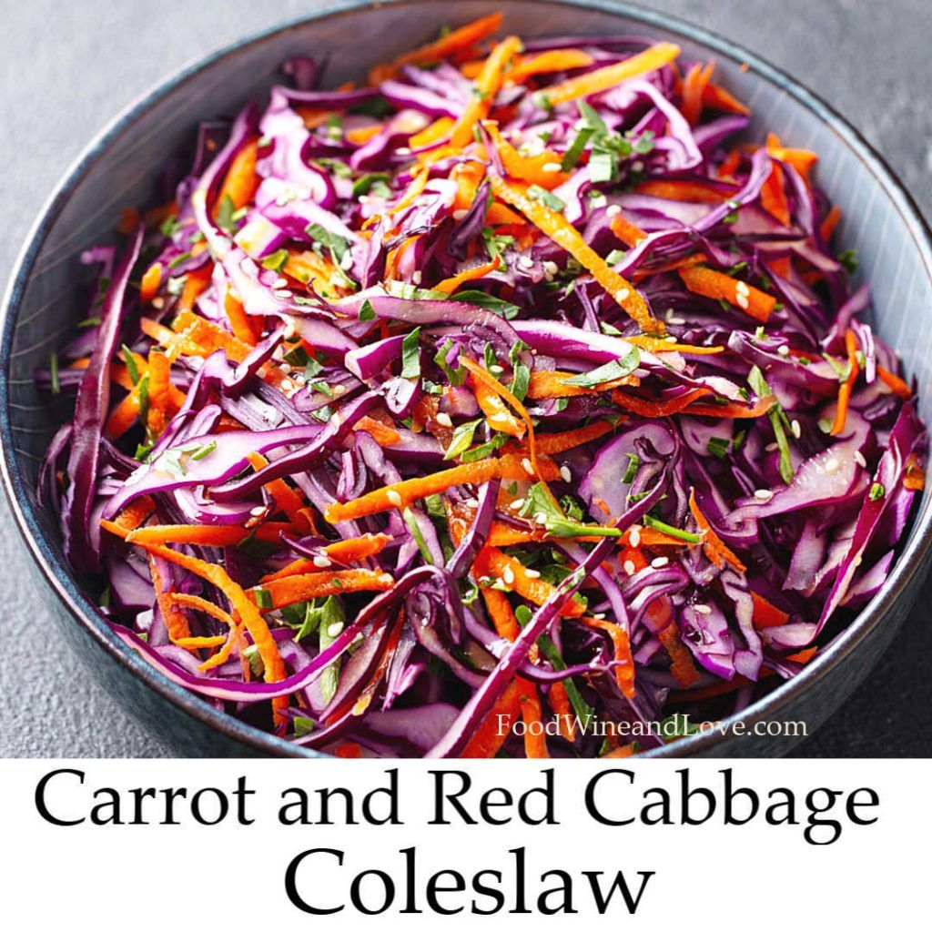 Red Cabbage And Carrot Coleslaw Recipe In 2020 Red Cabbage Recipes Coleslaw Best Bruschetta Recipe