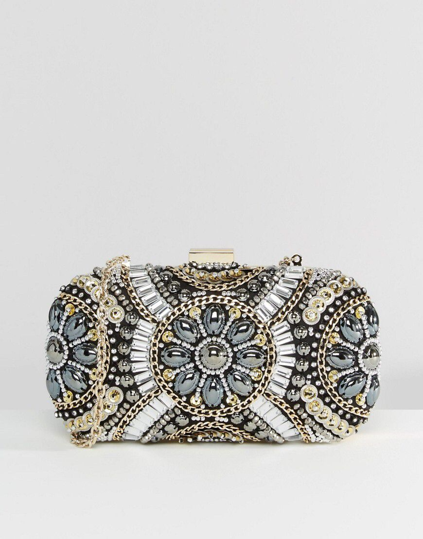 38d35a83a23 ALDO Black & Metallic Beaded Box Clutch Bag | Fashion/accessories ...