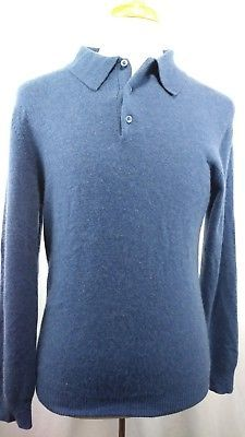 1af4fc7051f65 Marshall Fields Mens 100% Cashmere Sweater Medium light blue pullover  button l/s