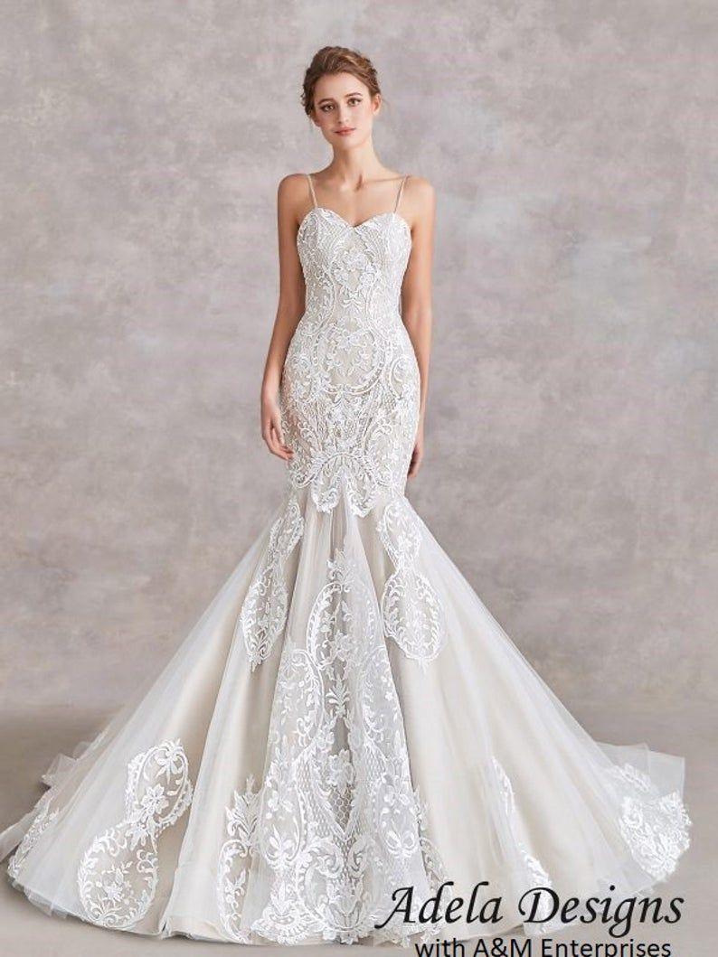 Mermaid Trumpet Lace Wedding Dress Wedding Dress Bridal Gowns Etsy In 2021 Lace Mermaid Wedding Dress Trumpet Wedding Dress Lace Wedding Dresses [ 1059 x 794 Pixel ]