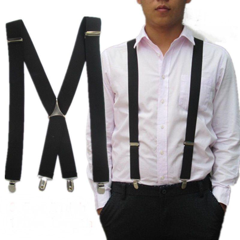 Men Dress Shirt Elastic Suspenders Adjustable Clip-on Belt Strap Formal Uniforms