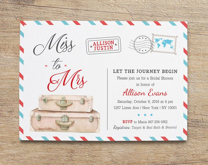 bdf7c1bccf8 Travel Bridal Shower Invitation