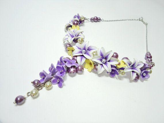 Lily necklace, Choker necklace, Wedding Jewelry, purple and yellow flower necklace, Polymer clay Jewelry, handmade jewelry