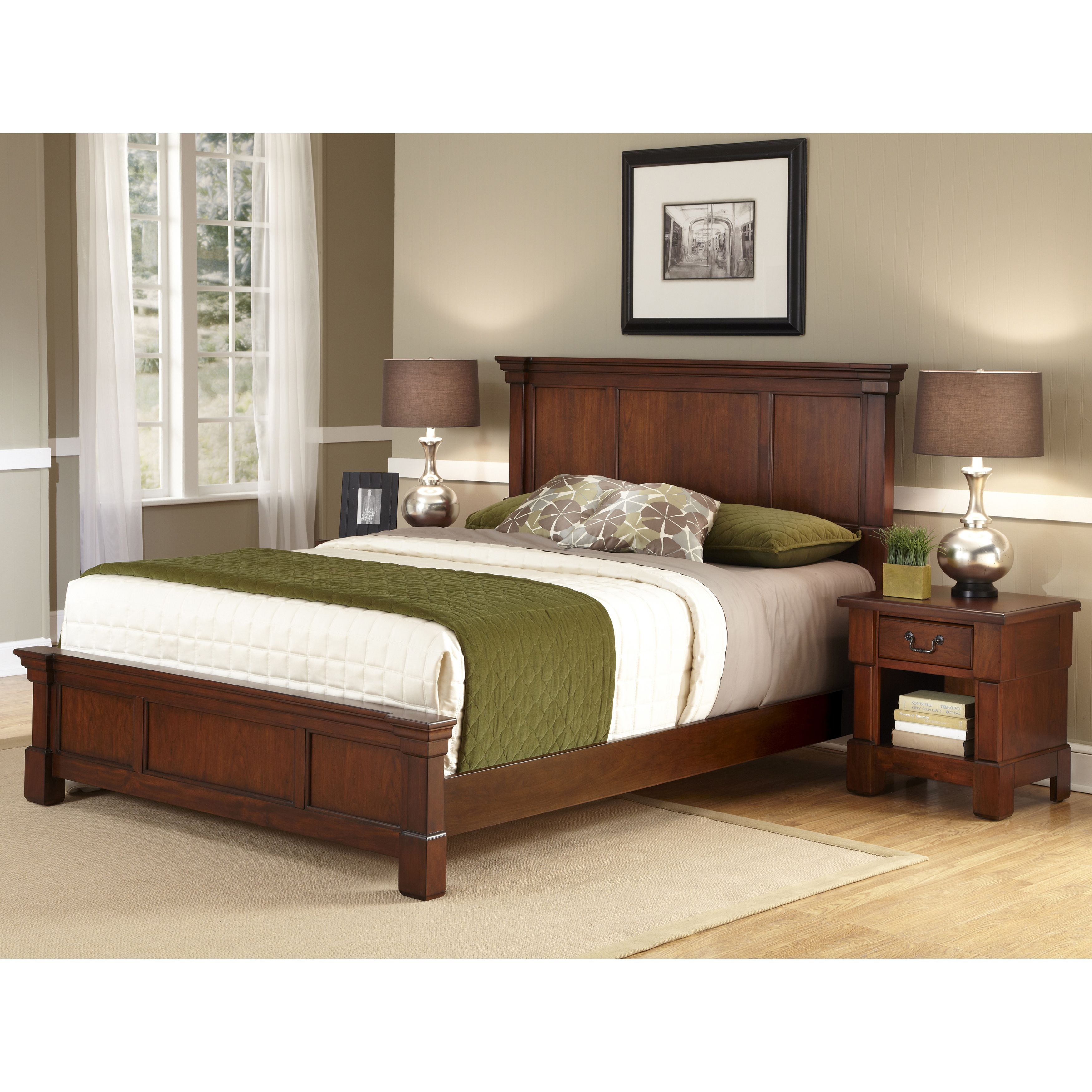 The Aspen Collection Rustic Cherry Queen Size Bed And Nightstand