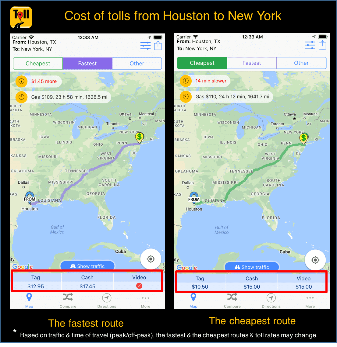 Cost Of Tolls From Houston To New York Use Tollguru Toll Calculator To Find The Fastest Route With Tolls Gas Cost For Your Trip Anywher Toll Road Tolls Trip