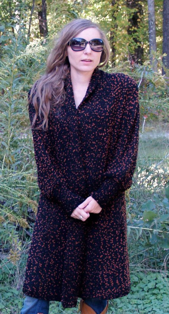 Long COZY Oversized Vintage 80s Sweater Coat / by menseridge ...