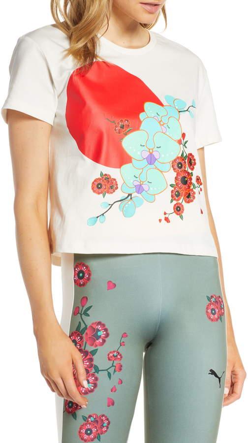 82b2e991ef Women's Puma X Sue Tsai Crop Floral Tee, Size X-Small - Ivory in ...