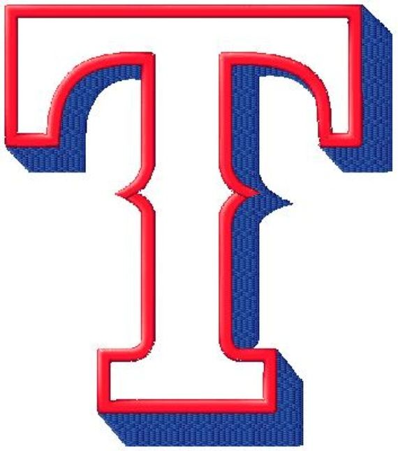 Photo Of 17 Texas Rangers T Logo Filled And Applique Machine