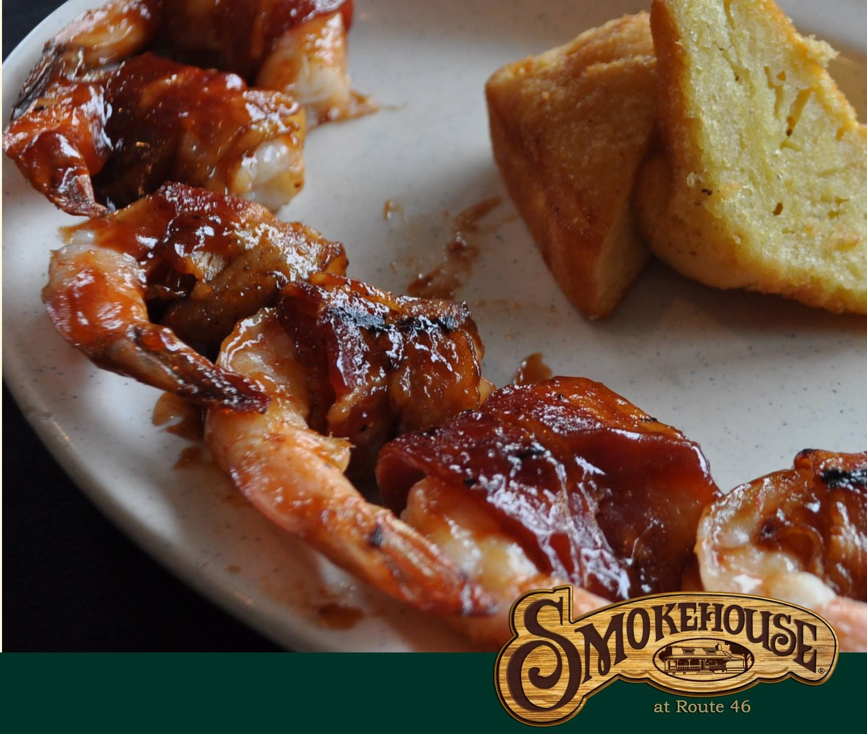 Applewood Bacon Wrapped BBQ Shrimp. Smokehouse at Route 46 open daily 11am-9pm. #Route46 #Smokehouse #BBQ #Bacon #Shrimp