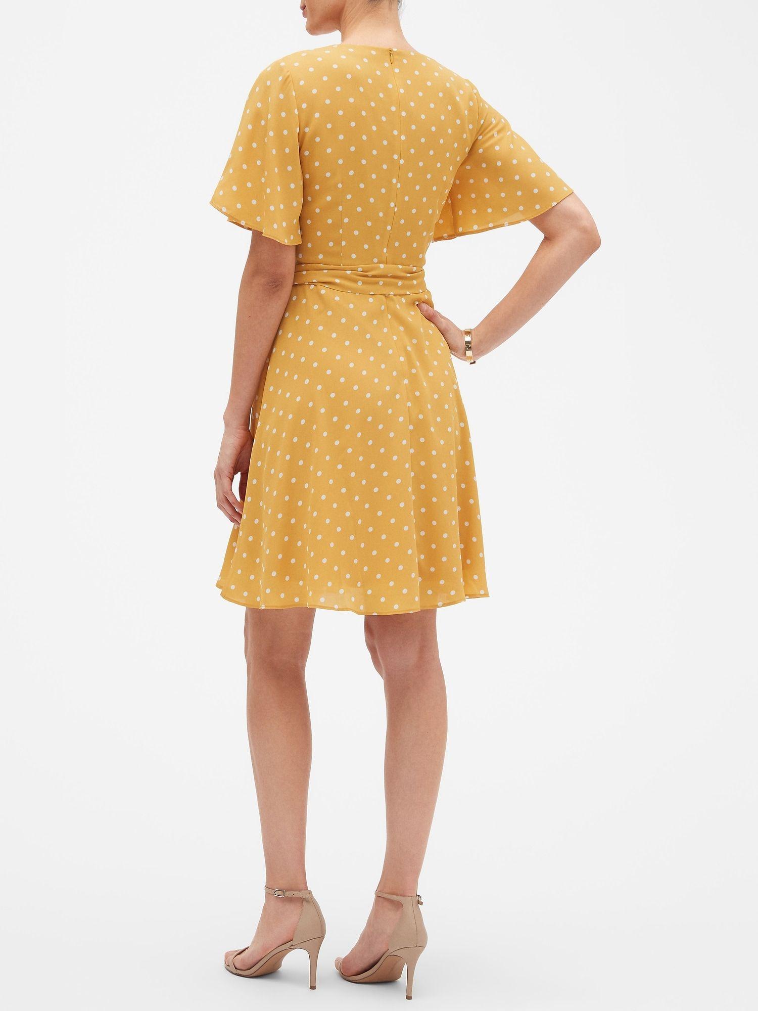af130e4c5c Or gold polka dot 💛 Print Flutter Sleeve Belted Fit and Flare Dress ...