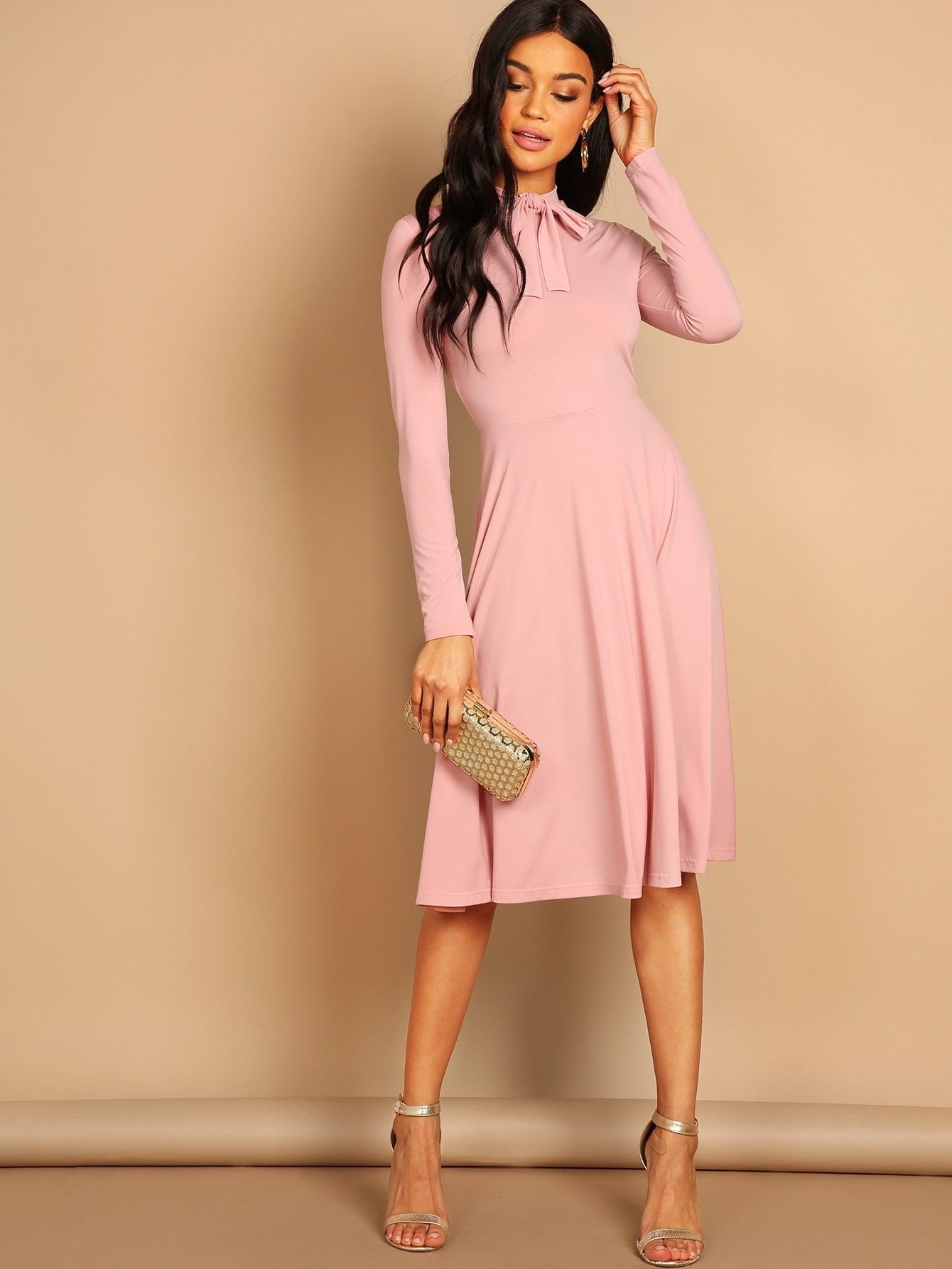 94c0e49240 Casual Plain Shift High Neck Long Sleeve Natural Pink Knee Length Tie Neck  Solid Flowy Dress