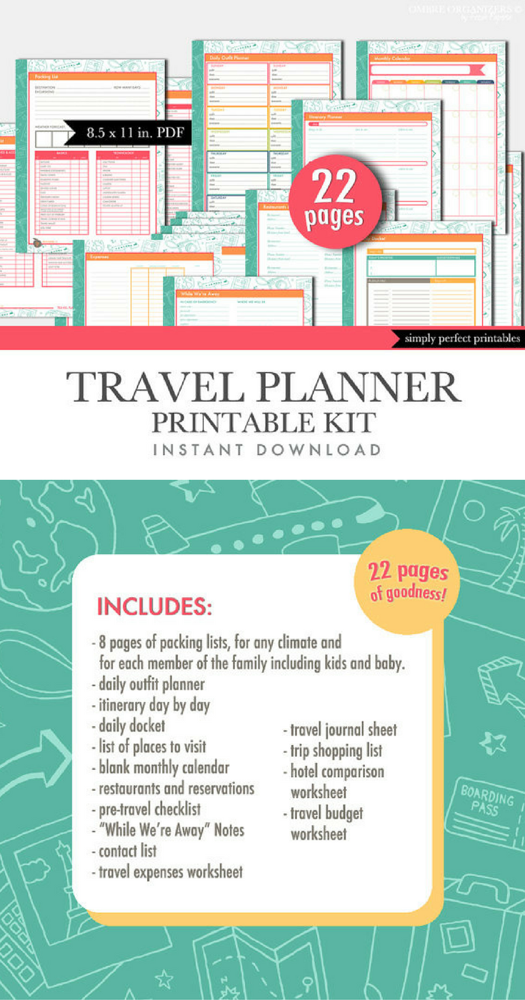 Printable Travel Planner Set  Packing List  Calendar  Checklist