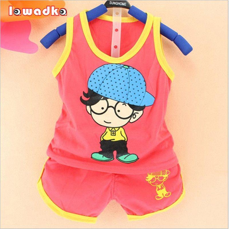 2016 Pasgeboren Baby Kleding Sets Jongen/meisje Katoenen Vest + Shorts 2 stks Kids Kleding Sets Cartoon Pak Summ