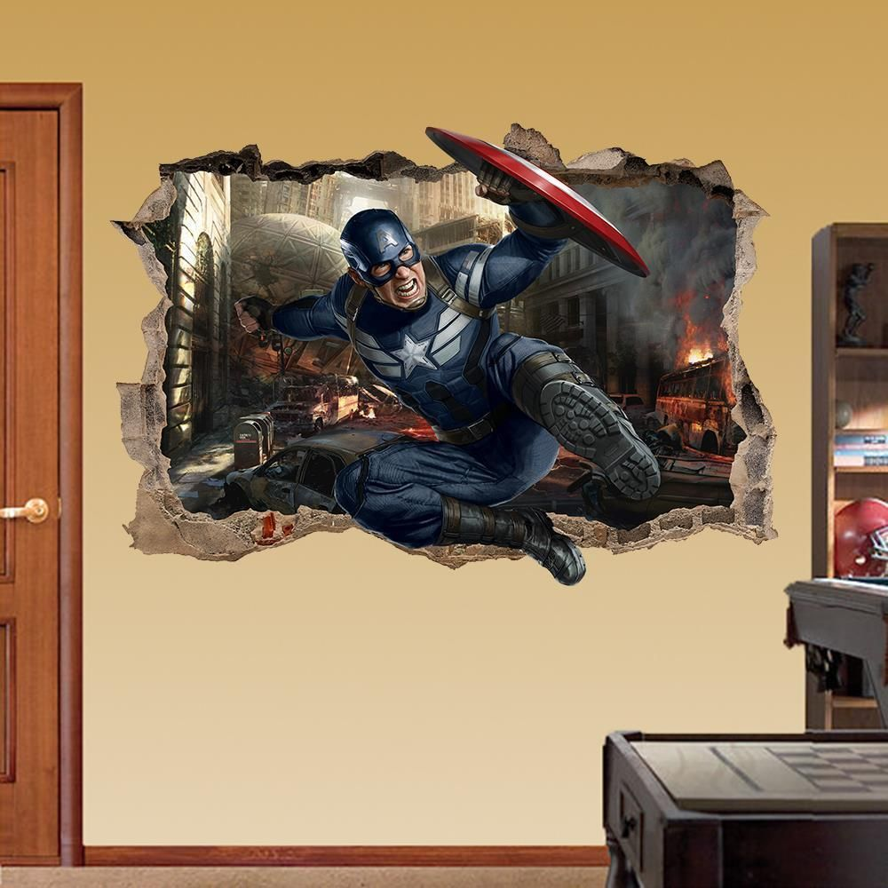 CAPTAIN AMERICA 3D WALL STICKER SMASHED BEDROOM Avengers Removable ...