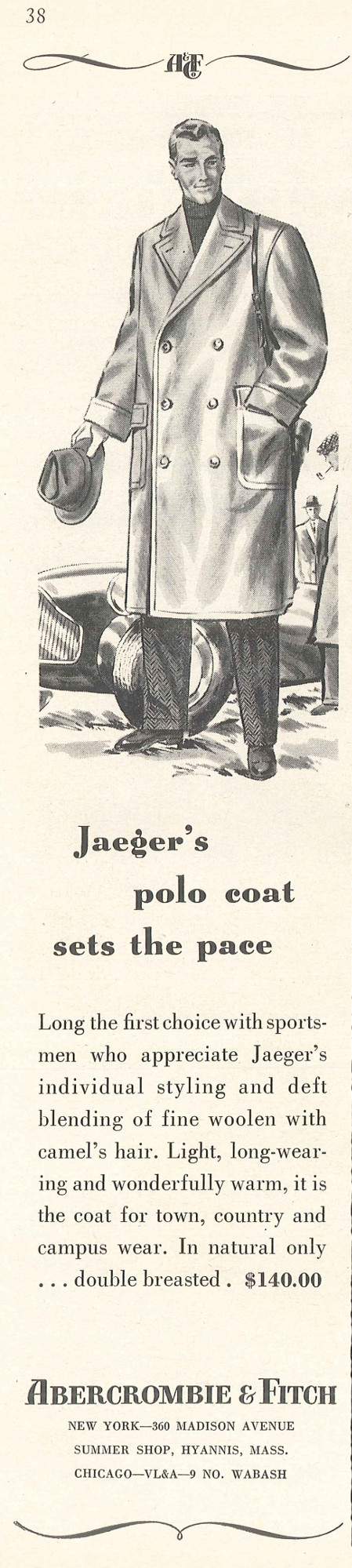 Abercrombie & Fitch: Jaeger's polo coat sets the pace - The New Yorker, 31 août 1957