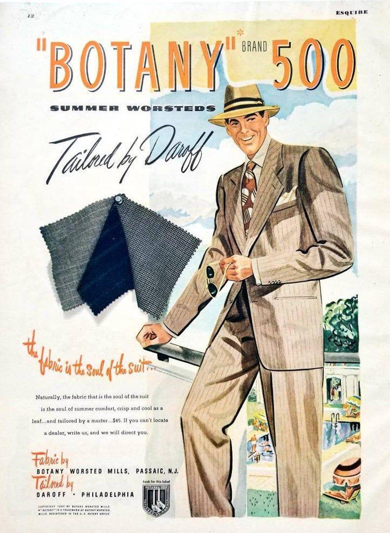 1947 Botany 500 Suits Vintage Advertisement Mens Clothing Etsy In 2020 1940s Mens Clothing Vintage Advertisement Vintage