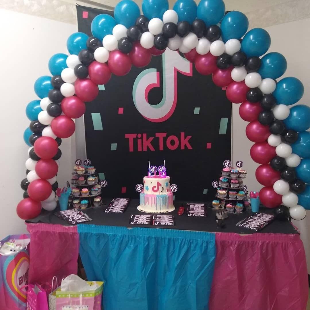 My Daughter S Tik Tok Party Ice Cream Birthday Party Birthday Balloons Birthday Parties