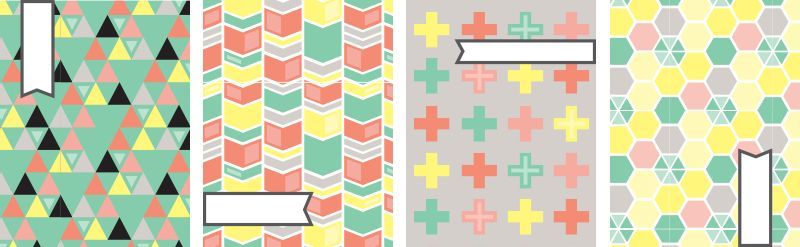Geometric Binder Covers with Label - Free Printables