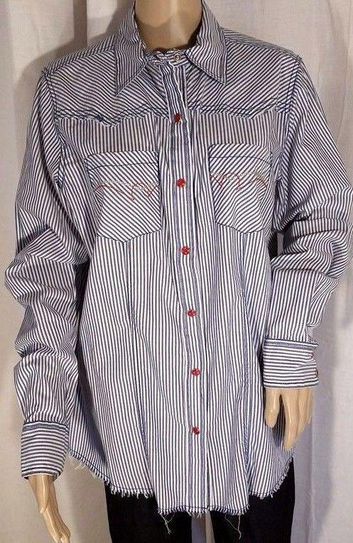 171018297 NWT Cruel Brand Pin Stripe Blue Ragged Western Ladies Top Size XL #CruelGirl  #ButtonDownShirt