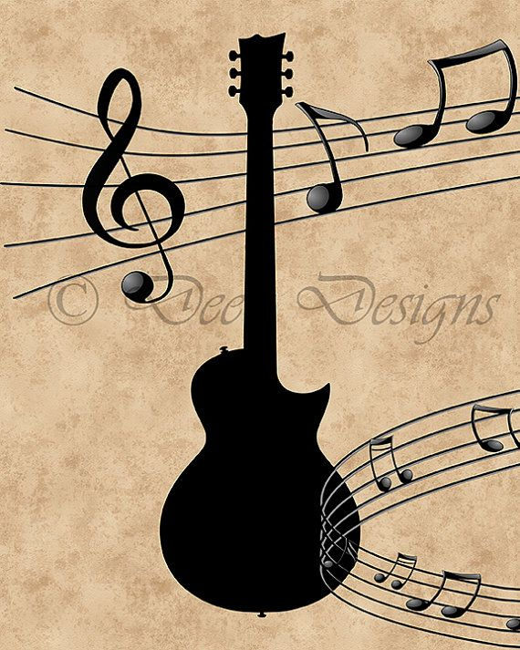 Guitar with Music Notes Printable Art, Instant Download, Digital Art ...
