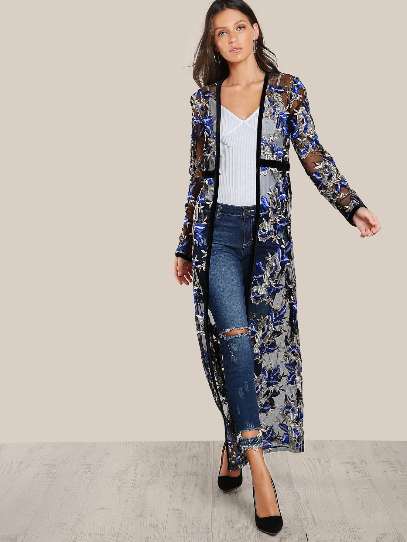 3e37d1ec39c37 Shop Flower Embroidered See Through Maxi Kimono online. SheIn offers Flower  Embroidered See Through Maxi Kimono & more to fit your fashionable needs.