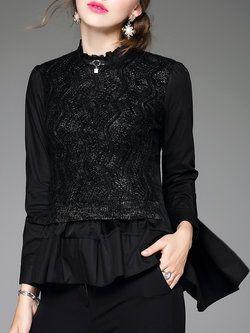 Black Casual Lace Paneled H-line Blouse